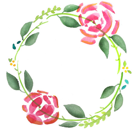 Floral rose water colour wreath