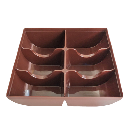 Empty brown plastic macroon container holder tray