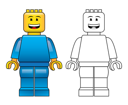 Generic male mini block figure coloured and outline with smiling face