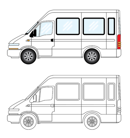 Side view vector illustration of a mini camper delivery van