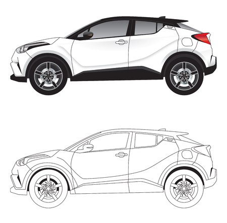 Side with vector illustration diagram of aggressive styled sports SUV car in colour and outline