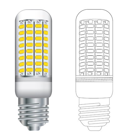 Side view vector illustration of a typical LED energy saving lightbulb in colour and outline