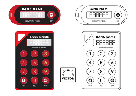 Vector illustration of 2 different bank 2 factor authentification security device token in colour and outline