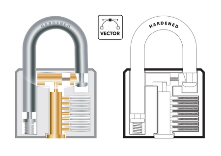 Vector illustration of the cross section of a padlock showing springs, pegs and locking mechanism in colour and outline Illusztráció