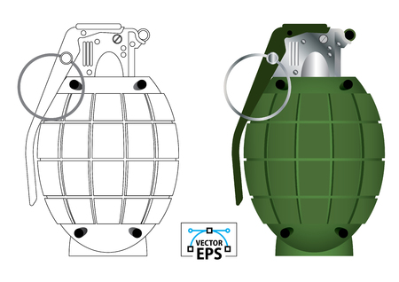 Side view of a frangmentation hand grenade vector illutration in colour and black and white outline
