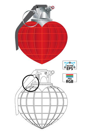 Vector illustration of a heart shape love hand grenade in colour and black outline Stock Illustratie
