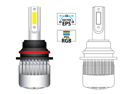 Car LED replacement headlight bulb vector illustration in colour and black outline Stock Illustratie