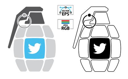 popular social media bird icon grenade bomb threat in colour and black outline.