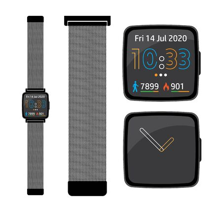 Smart digital fItness tracker watch with milanese loop chain strap and alternate watch faces