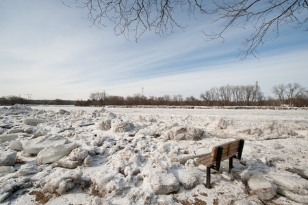 Ice jams overflow the Mohawk River in Schenectady