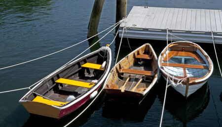 rowboats: Rowboats in a row - Rockport Harbor, Maine