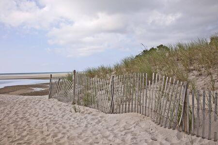 beach access: A snow fence lines a beach access at Chapin Beach, Dennis, Massachusetts