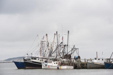 Fishing boats are gathered in Wellfleet Harbor, Massachusetts