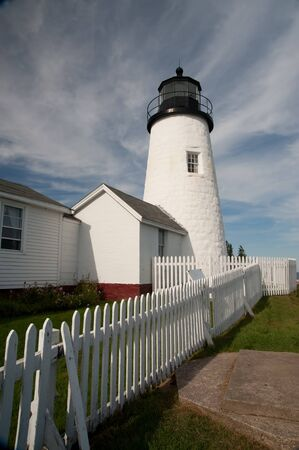 Pemaquid Lighthouse glows in the afternoon sun in Pemaquid Point, Maine. Stock Photo
