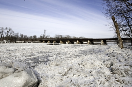 Annual ice jams overflow the Mohawk River in Schenectady