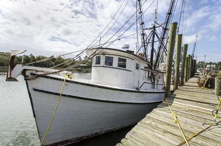 shrimp boat: Shrimp boats at the docks in McClellanville, South Carolina Stock Photo