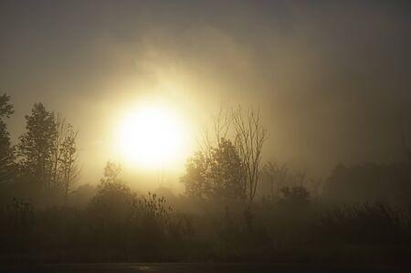 Een zware mist uitwist de rijzende zon in Duanesburg, New York