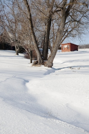 brooder: Snow surrounds a rural yard and old Brooder House in Rotterdam, New York