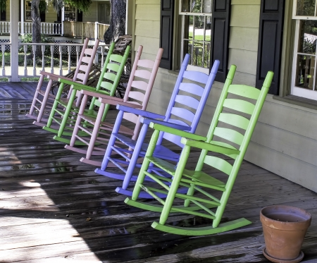 rocking chair: An attractive group of pastel rocking chairs