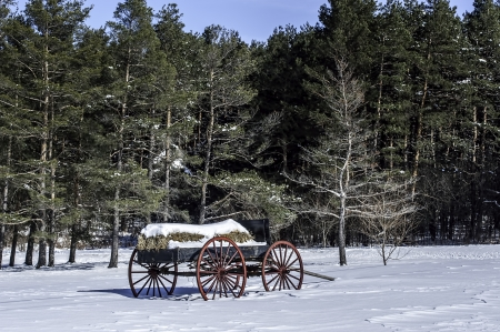 A vintage hay wagon rests in the snow in Duanesburg, New York