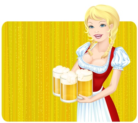 Oktoberfest girl with beer mugs Stock Vector - 9955641