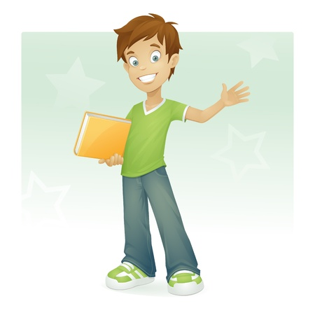 happy boy with book smiling and waving Vector