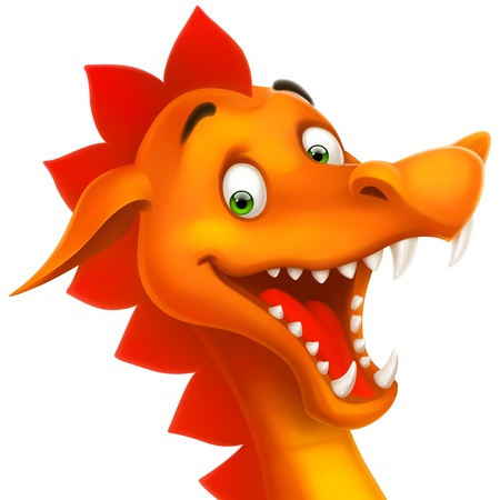 Cute smiling happy dragon as cartoon or toy isolated on white Illustration