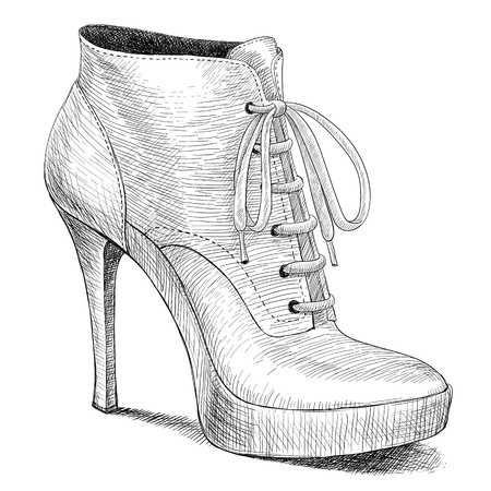 leather shoe: vector drawing of woman fashion high heel shoes boots in ink engraving vintage style