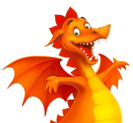Vector carino drago sorridente felice come cartone animato o giocattolo isolata on white