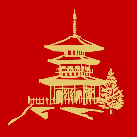 vector pagoda in gold and red colors Illustration