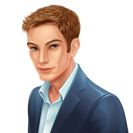 happy young people: vector portrait of a young stylish man Illustration