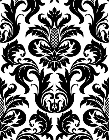 Vector seamless floral damask pattern for vintage abstract background