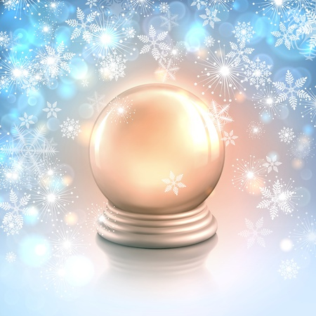 Christmas card background with snowflakes, lights and shiny magic crystal ball or empty silver snow globe