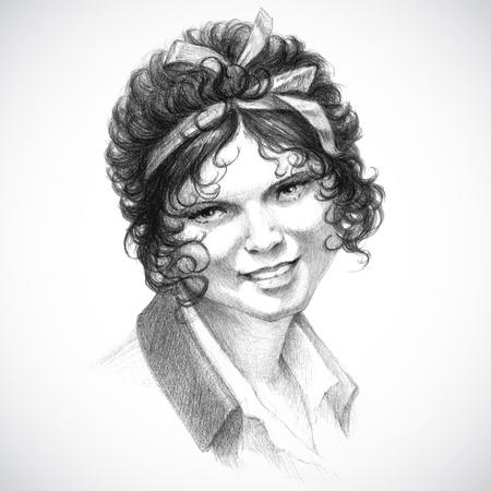 antique woman: retrato de �poca de joven mujer morena rizada en la �poca victoriana rom�ntica l�piz de dibujo de estilo retro,