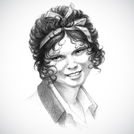vintage portrait of young curly brunette woman in Victorian romantic retro style, pencil drawing