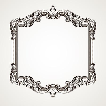 rococo style: Vector de la frontera de �poca grabado marco con el patr�n de adorno retro en el dise�o antiguo estilo decorativo rococ�