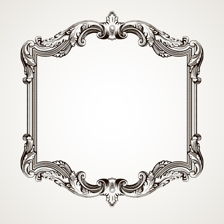 antique fashion: Vector vintage border  frame engraving  with retro ornament pattern in antique rococo style decorative design  Illustration
