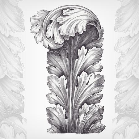 baroque: grabado de época de acanto follaje ornamental con retro en el vector antiguo diseño rococó estilo decorativo