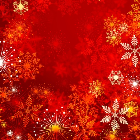 Winter red background with snowflakes