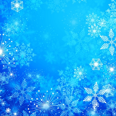 Winter blue background with snowflakes  Stok Fotoğraf