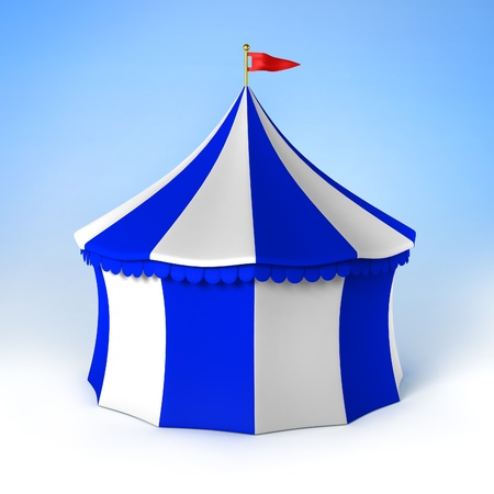circus party tent blue and white striped photo