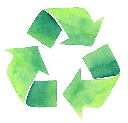 utilize: watercolor recycle symbol