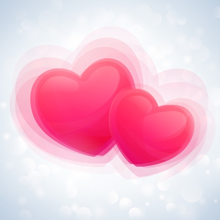 valentine card with two pink hearts and abstract background Çizim