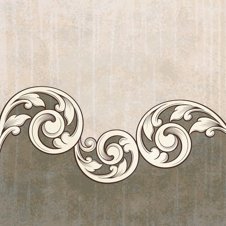 flourish: Vintage scroll engraving pattern at grunge background card invitation Illustration