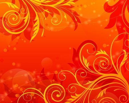 autumn motif: floral scroll background red vintage