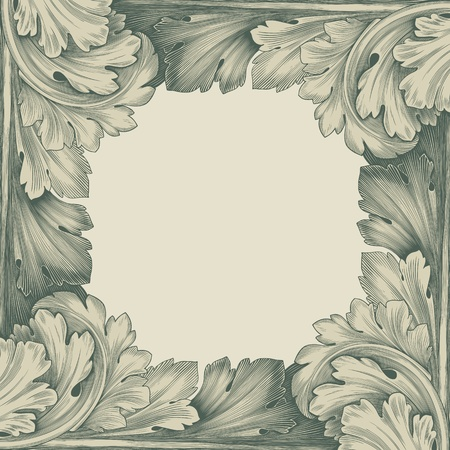 scroll border: vintage border frame engraving with retro ornament pattern in antique rococo style decorative design