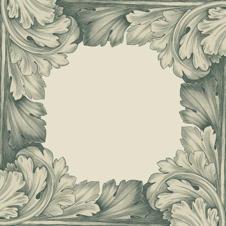 Vintage gravure frame frontière avec ornement dans le design rétro de style antique rocaille décorative