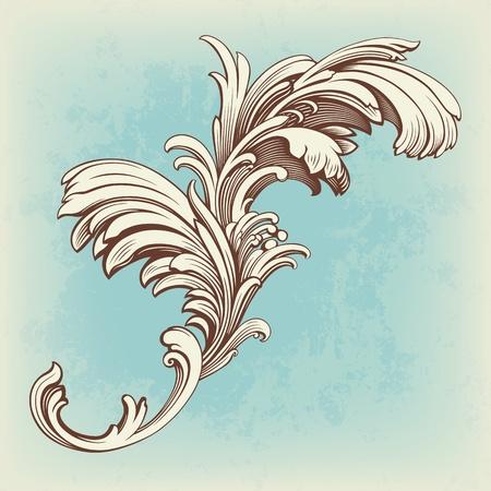 schriftrolle: Blumenmuster Gravur Rollemotiv für Vintage-Design Vektor-Karte