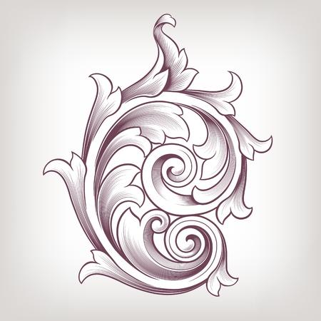barocco: Vintage barocco scroll disegno elemento fiore modello motivo