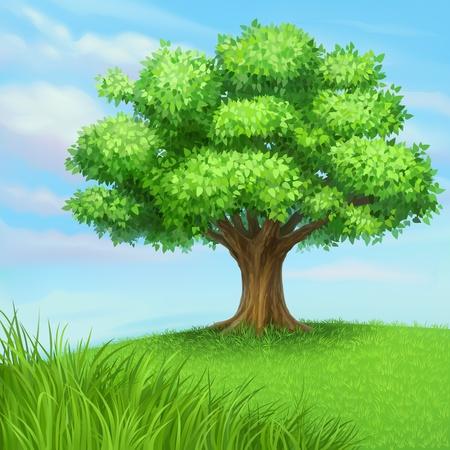 녹색 잔디 초원에서 여름 나무